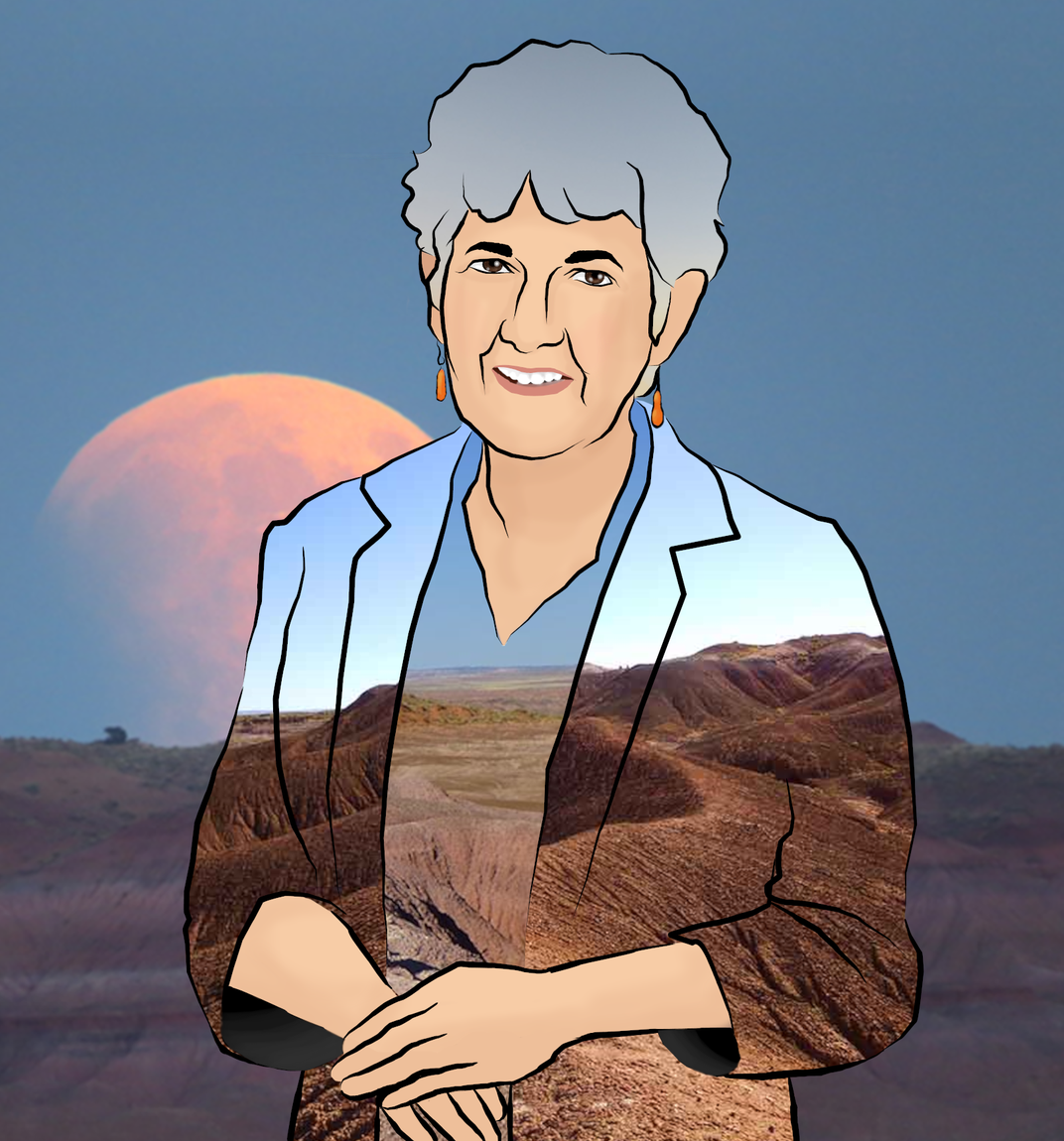 Portrait of Kay Behrensmeyer overlaid with an image of Petrified Forest National Park