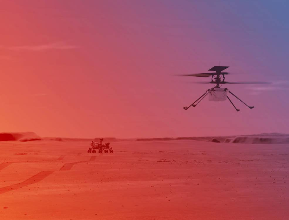 An illustation of NASA's Ingenuity Mars Helicopter flying on Mars. The Preserverence Rover awaits in the background