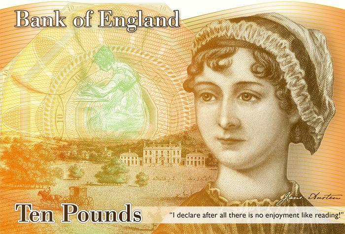 Jane Austen on the British £10 note.