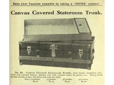Advertisement for a United stateroom trunk, 1911, with the familiar proportions of a modern suitcase.