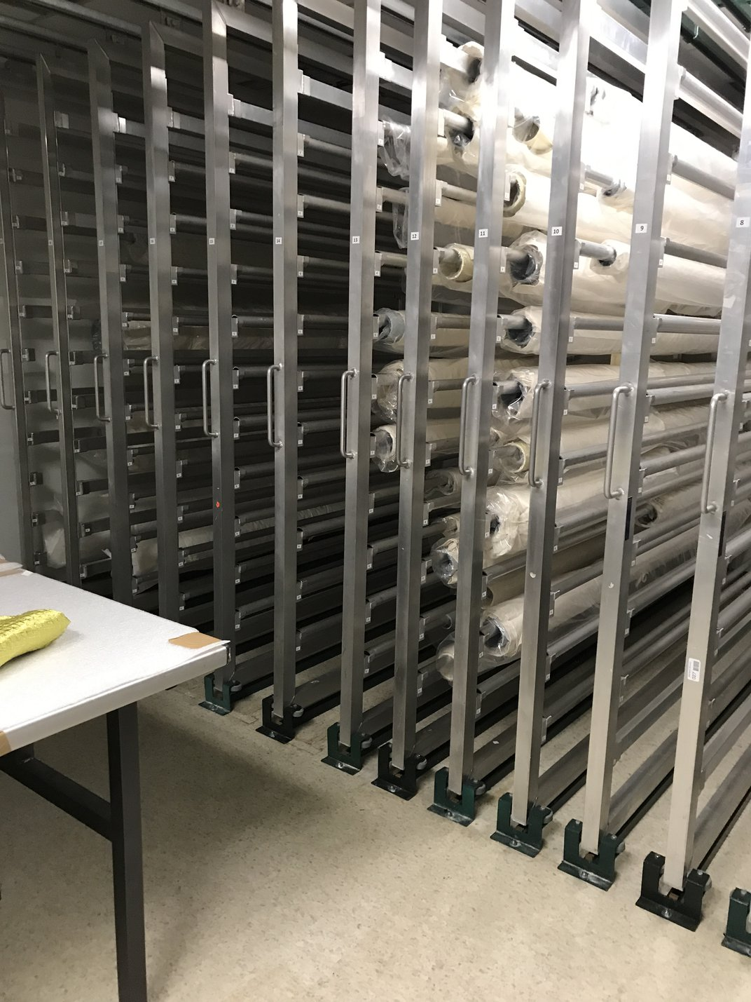 Image of rolled textile storage space at the National Museum of African Art