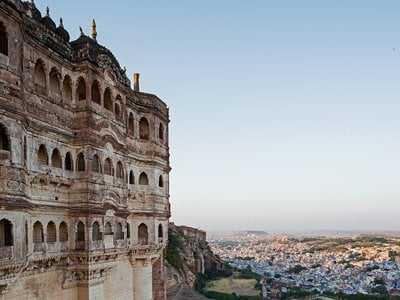 The city of Jodhpur spills out below Mehrangarh Fort, once the residence of the royal family.