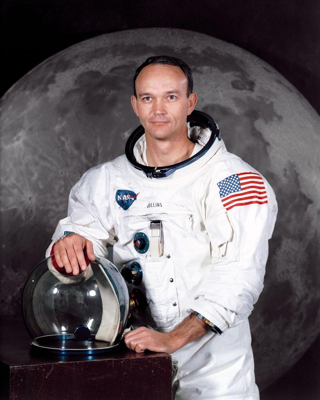 Michael Collins in spacesuit