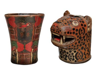 """Incan qeros from the National Museum of the American Indian. The white pigment """"often appears yellowish over time,"""" says Emily Kaplan."""