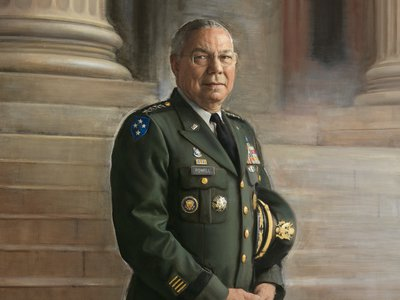 Detail ofRonald N. Sherr'sGeneral Colin Powell,2012, oil on canvas