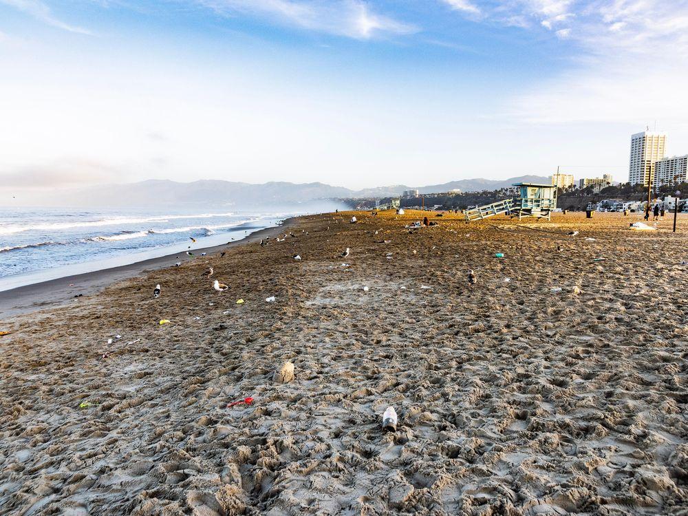plastic on beach in santa monica