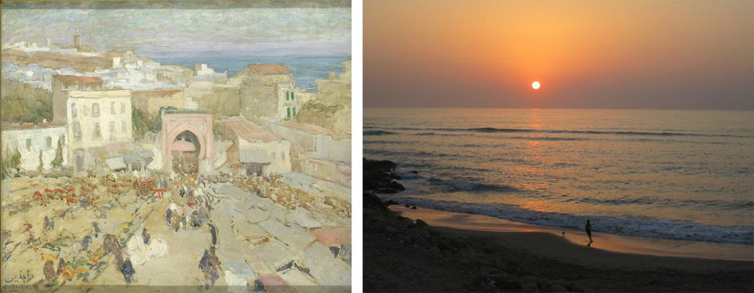 A painting of Taniger on the left and a photo of Asilah on the right