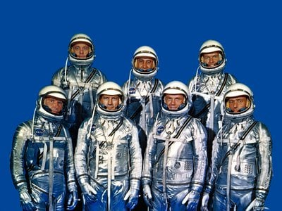 NASA's Project Mercury astronauts on April 9, 1959. Known as the Mercury Seven or Original Seven, they are (front row, left to right) Walter M.