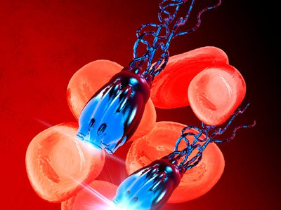 In an illustration unrelated to the study from the University of California, one kind of nano-bot is depicted in the bloodstream.