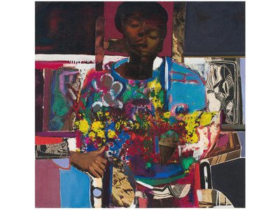 Woman With Flowers, oil and collage on canvas, 1972. A celebration of black beauty, the work alludes to both African sculpture and African American quilt making.