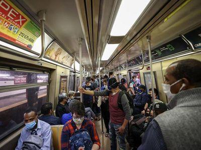 Passengers ride the New York City subway on May 24, 2021.