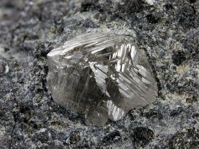Diamond crystal on kimberlite from Eastern Siberia