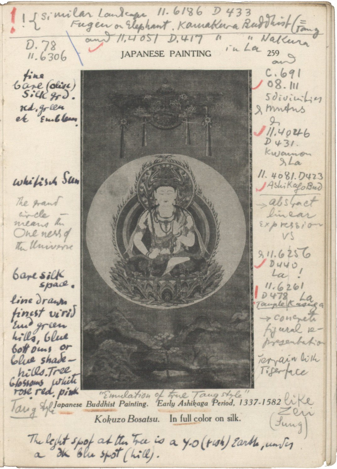 Printed book page with image of Kokuzo Bosatsua and extensive notes in pencil, ink, and red wax pencil.
