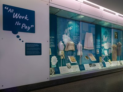 The museum's new display takes a look at the implied expectation that women will always take care of the housework.