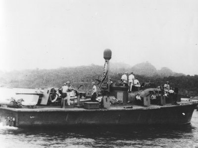 View of the PT-59 boat in the Solomon Islands during World War II.