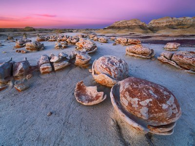 The Bisti Badlands in northern New Mexico is known for its Easter egg-like rock formations.