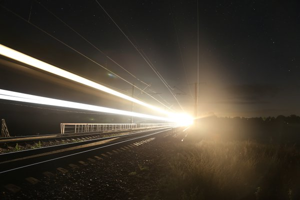 Train headlights on long exposure thumbnail