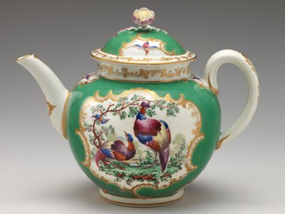 This porcelain pot with enamel decorations is one of 100 teapots on display in the Met's updated British Galleries.