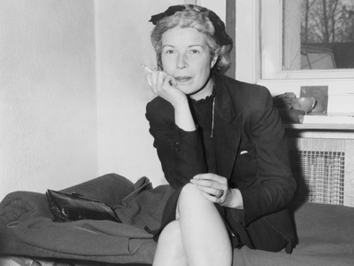 Mildred Gillars, a.k.a. Axis Sally, in custody at U.S. Counter Intelligence HQ, Berlin, 1946.