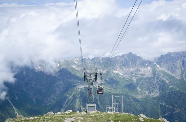 Cable car from the top of Chamonix-Mont-Blanc, France  thumbnail