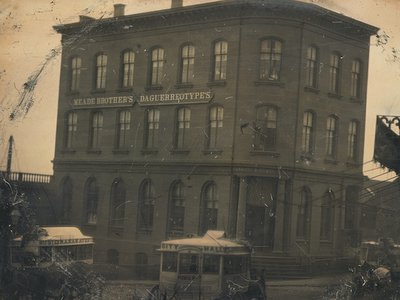 The Meade brothers worked above a bank in this Williamsburg building in Brooklyn before moving into Manhattan. Half-plate daguerreotype by Meade Brothers Studio, circa 1853.