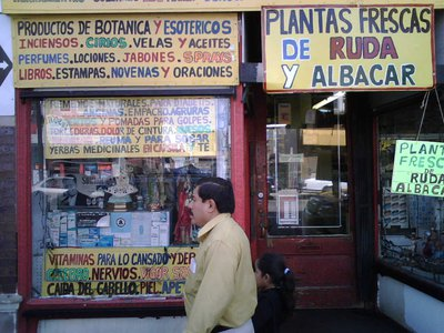 A man walks by a botanica, a store stocking medicinal plants, in Chicago.
