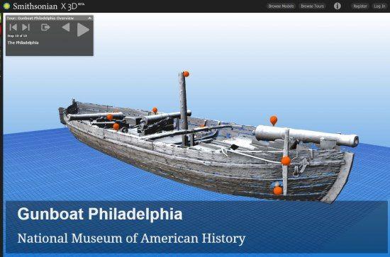 3D rendering of the Gunboat Philadelphia