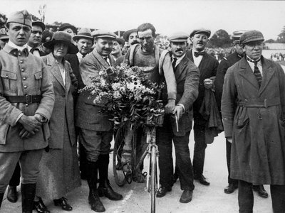 Belgian cyclist Firmin Lambot, the ultimate winner of the race, pictured in a wooly yellow jersey.