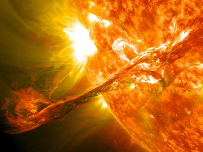A solar flare erupts from the Sun in 2012.