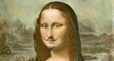 """In 1919 Marcel Duchamp penciled a mustache and goatee on a print of Leonardo da Vinci's Mona Lisa and inscribed the work """"L.H.O.O.Q."""" Spelled out in French these letters form a risqué pun: Elle a chaud au cul, or """"She has hot pants."""" Intentionally disrespectful, Duchamp's defacement was meant to express the Dadaists' rejection of both artistic and cultural authority."""