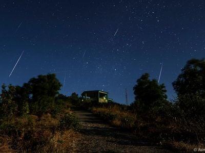 Geminid meteor shower streaks across skies in December of 2013.