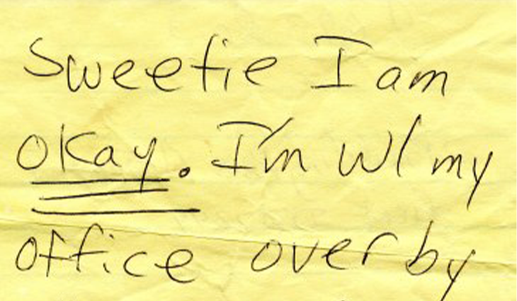 Excerpt from a handwritten note from Daria Gaillard to her husband, Frank, on September 11, 2001 (NMAH)