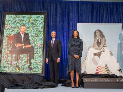 The specially commissioned portraits of Barack and Michelle Obama make their formal museum debut.