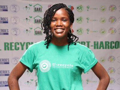 Oluwaseyi at a Movie screening hosted by her organization in commemoration of Global Recycling Day 2021.