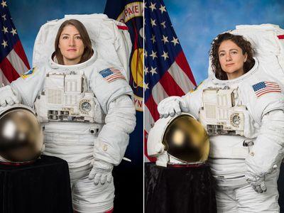 NASA astronauts Christina Koch (left) and Jessica Meir (right).