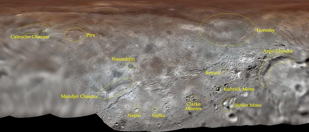 Sci-Fi and Snakes Rule in New Official Names for Features on Pluto's Largest Moon and Mercury
