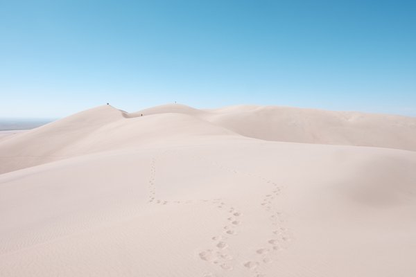 Great Sand Dunes with distant hikers. thumbnail