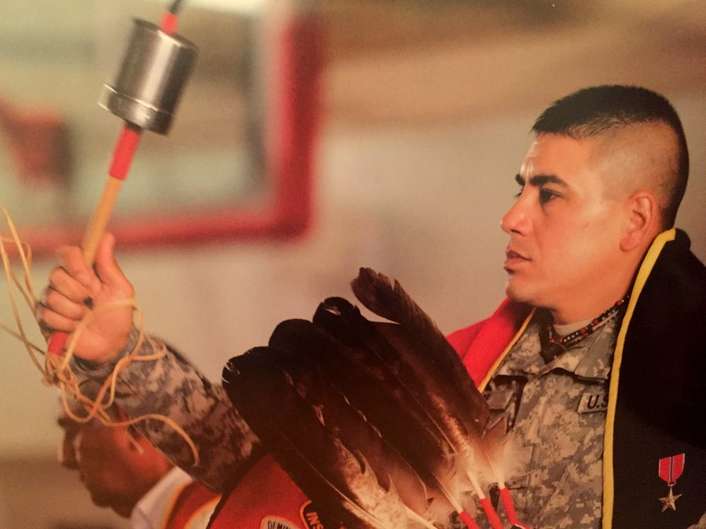 Cody Ayon (Tsistsistas [Southern Cheyenne]) enlisted in both the U.S. Navy and the New Mexico Army National Guard. The Native community of Albuquerque welcomed then-Lieutenant Ayon home with a Soldier Dance after his service during the Iraq War. (Steven Clevenger [Osage], courtesy of Cody Ayon)
