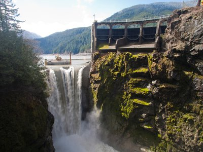 The Lake Mills reservoir gets drawn down in March 2012 as part of the Elwha River Restoration, which involved the largest dam removal project in U.S. history.