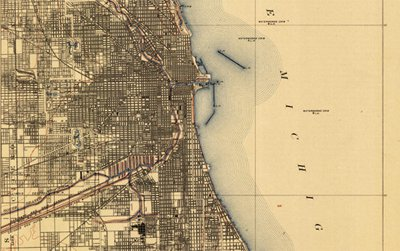 A map of Chicago, Illinois, imprinted in 1913 from the United States Geographical Survey's historical topographic map collection.