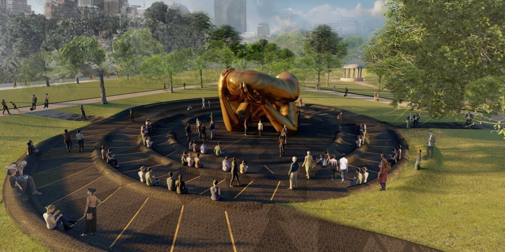 A rendering of a large sculpture of disembodied arms embracing one another, surrounded by a spiral path with ledges for sitting and the greenery of the public park around, scattered with people