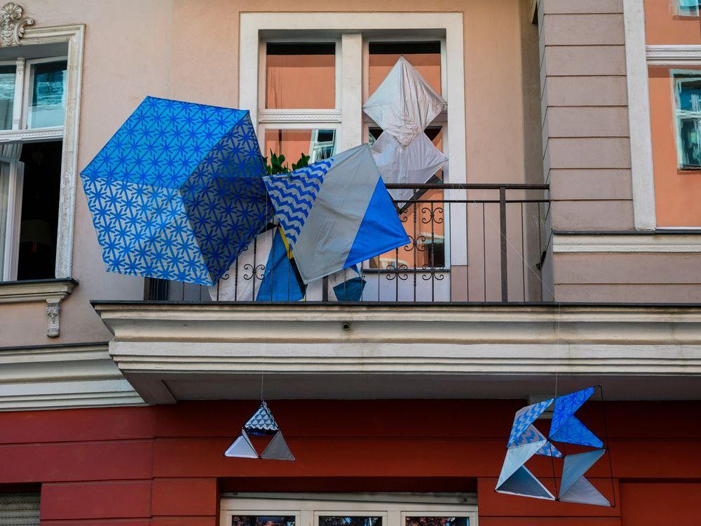Blue sculptures
