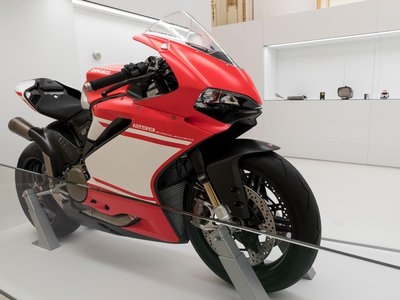 A 2017 Ducati motorcycle, a Panigale 1299 Superleggera, as-yet unridden, is on view at the Cooper Hewitt in New York City.