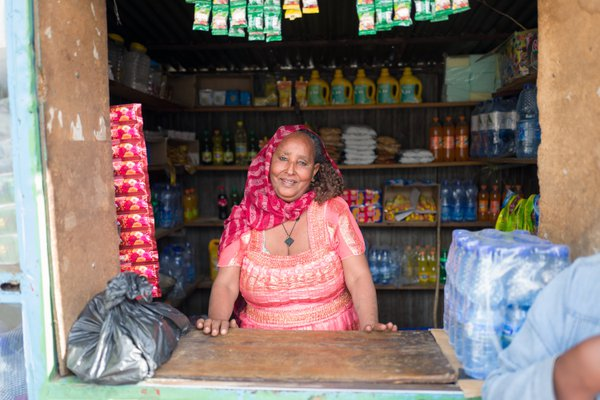 Ethiopian business woman in her small shop in Dessie thumbnail