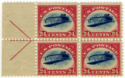 24c Curtiss Jenny inverted block of four, 1918 This upside-down blue plane within a red frame is the most famous U.S. stamp and one of the world's most famous printing errors. Only one misprinted sheet of 100 stamps was sold. Loan from William H. Gross.