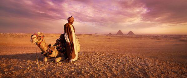 Sunrise over the Pyramids of Giza, Cairo, Egypt thumbnail