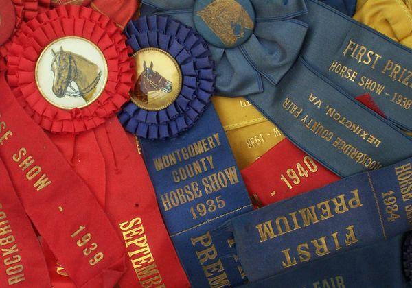 Antique horse show prize ribbons thumbnail