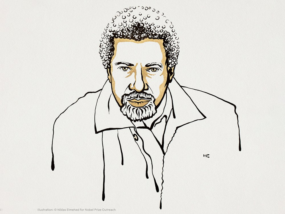 A black and gold line drawing of Gurnah, an elderly Black man in a suit jacket and buttoned shirt