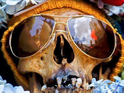 A skull at Bolivia's Fiesta de las Ñatitas.