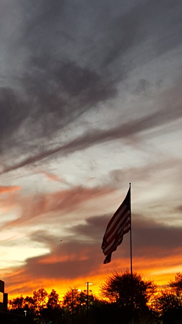 Sunset  with US Flag thumbnail